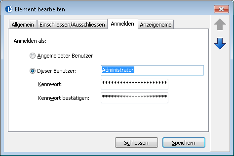 Anmelde-Informationen des Administrator-Benutzers - Langmeier Backup als Windows-Dienst: Ihre Datensicherung und automatisches Windows-Backup wird auch ohne angemeldeten Benutzer zuverlässig ausgeführt.