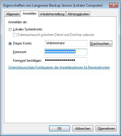 Langmeier Backup-Dienst Eigenschaften