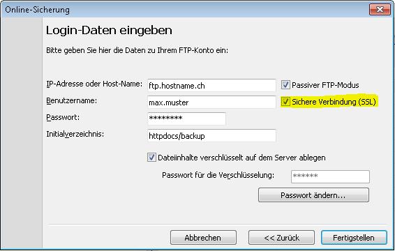 Langmeier Backup führt Ihr FTP-Backup auf Wunsch auch über eine sichere SSL-Verbindung aus. Die Details finden Sie in diesem Artikel.