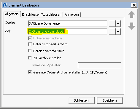 In Langmeier Backup lassen sich die Sicherungsordner dynamisch erstellen. Dies lässt sich nutzen, um die Daten immer in den Ordner des gerade aktuellen Wochentags zu sichern. Hier ein Tutorial.